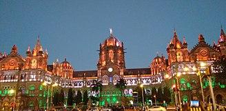 Chhatrapati Shivaji Terminus railway station - Chhatrapati Shivaji Maharaj Terminus Railway Station on the eve of republic day in 2016
