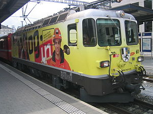 Rhaetian Railway Ge 4/4 II - Locomotive 611 was the first example of the Ge 4/4 II to be given a promotional livery in 2008.