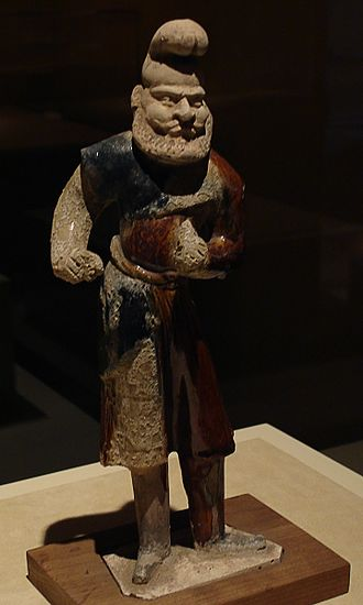 Transoxiana - A Chinese sancai ceramic statuette depicting a Sogdian stableman, dated to the Tang Dynasty (618–907 AD)
