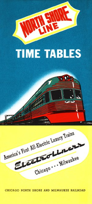 Chicago North Shore and Milwaukee Railroad - North Shore public timetable dated February 9, 1941, introducing the Electroliners