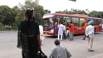 Chandigarh - CTU AC bus outside railway station