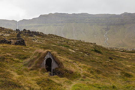 Abandoned Icelandic turf house in the region of Búðahraun, Western Region, Iceland.