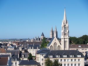 Caen - July 2010 view of centre of Caen and the Abbey of St. Étienne