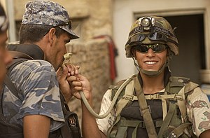"Hydration pack - Iraqi soldier with ""camel back"" hydration system"