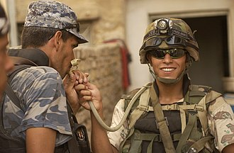"""Hydration pack - Iraqi soldier with """"camel back"""" hydration system"""