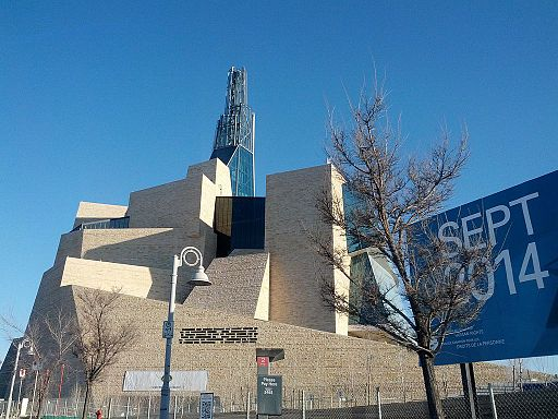 Canadian Museum for Human Rights, April 2014, showing sign with expected opening date