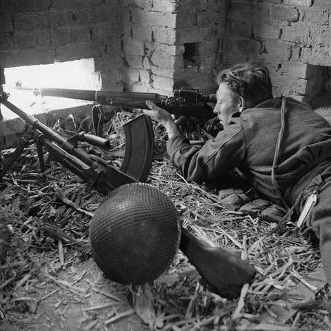 Canadian Perth Regiment sniper in Orsogna January 1944