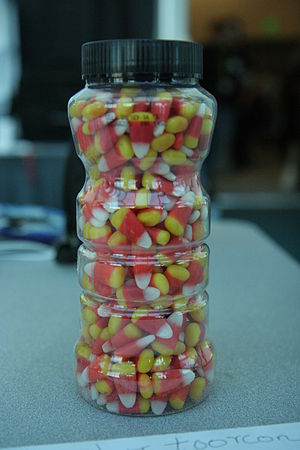 Estimation - The exact number of candies in this jar cannot be determined by looking at it, because most of the candies are not visible. The amount can be estimated by presuming that the portion of the jar that cannot be seen contains an amount equivalent to the amount contained in the same volume for the portion that can be seen.