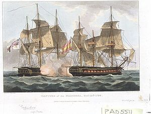 William Hall Gage - The fifth-rate HMS ''Terpsichore'' (on the left) which Gage commanded during the Siege of French-held Malta.