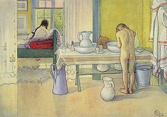 Personal grooming - Summer Morning (at Spadarvet), by Carl Larsson, 1908