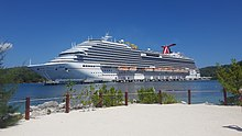 The Carnival Breeze docked in Mahogany Bay on the Isle of Roatan, Honduras