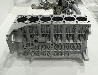 Cylinder block - A modern straight-six engine block for a passenger car, integrating the crankcase and all cylinders. The cylinder head bolts to the deck surface at top. Many ribs and bosses can be seen on the side of the casting, as well as the passages for cooling fluid opening into the deck.