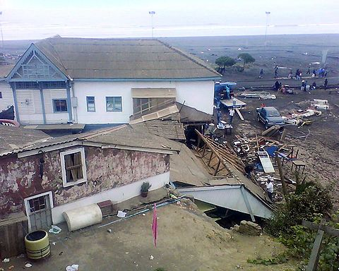 House in front of the Main Beach of Pichilemu after the tsunami and earthquake combo.
