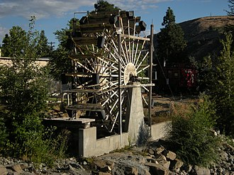 Cashmere, Washington - The Burbank Homestead Waterwheel at the Cashmere Museum is listed in the National Register of Historic Places (NRHP), as is the Blewett Arrastra (a drag-stone for pulverizing ore; not shown), also in the museum.