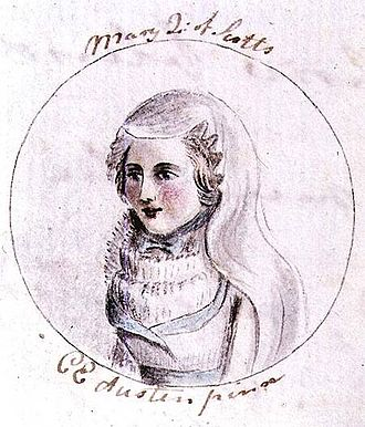 Cassandra Austen - Cassandra Austen's drawing of Mary, Queen of Scots, from her sister Jane's manuscript The History of England