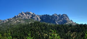 Castle Crags - A panoramic view of Castle Crags from inside Castle Crags State Park