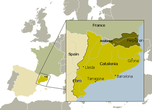 Treaty of the Pyrenees - Map of Catalonia, showing the partition of its territory by means of the Treaty of the Pyrenees.