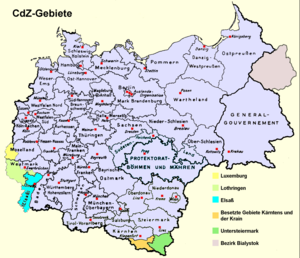 Chief of Civil Administration - Third Reich in 1941, CdZ Areas are marked in color