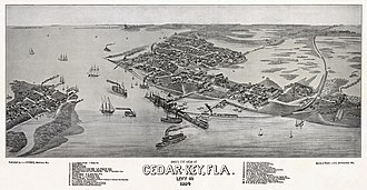 Cedar Key, Florida - 1884 map of Cedar Key