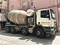 Cement mixer truck in Alghero (Sardinia) in July 2018.jpg