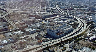 Central Freeway - Aerial view of the Central Freeway