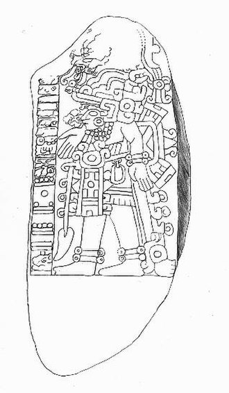 Cerro de las Mesas - Stela 6, from Cerro de las Mesas.  Note the Long Count date of 9.1.12.14.10 (April 468 CE) at the lower left.  The glyphs above the date are one of the few, and latest, Epi-Olmec script texts yet discovered.