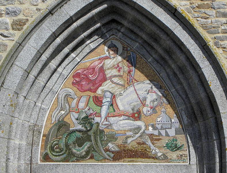 Église Saint-Georges de Châtillon-en-Vendelais (35). Façade occidentale. Tour-clocher de Jourdain, mosaïque d'Odorico.