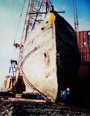 Chacon's hull after lifting for transport.
