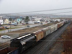 The railway yard cuts through the centre of Chapleau.