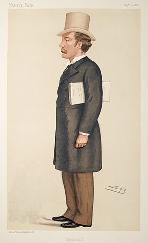 "Charles Stuart-Wortley, 1st Baron Stuart of Wortley - ""Sheffield"". Caricature by Spy published in Vanity Fair in 1886."