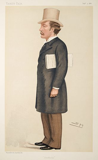 """Charles Stuart-Wortley, 1st Baron Stuart of Wortley - """"Sheffield"""". Caricature by Spy published in Vanity Fair in 1886."""