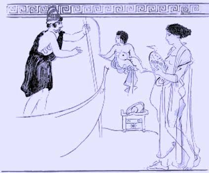 Charon receiving child (drawing)