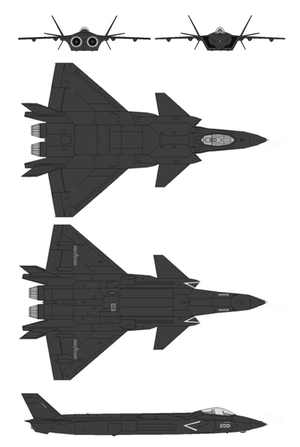 Chengdu J-20 - Schematic layout of Chengdu J-20
