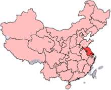A map of China with Jiangsu province highlighted