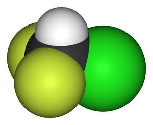 Chlorodifluoromethane - Image: Chlorodifluoromethan e 3D vd W