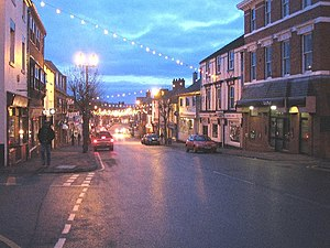 Mold, Flintshire - Image: Christmas Lights at Mold geograph.org.uk 99828