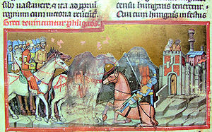 Apor - Apor, sitting on a white horse, leads the Hungarian army, while Botond duels with a Greek warrior before the walls of Constantinople. Emperor Constantine VII and his wife, Helena Lekapene watch the events over the broken city gate (Illuminated Chronicle)