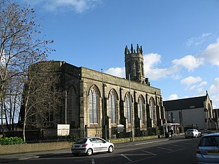 St Mary's parish church, Oxford Street, Bilston, West Midlands, seen from the west.