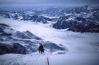 Mount Hunter (Alaska) - Looking down the SW Ridge at about 10,500 ft.