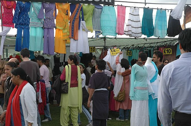 Clothes and crowds at London Mela