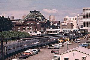 Union Station (Tacoma, Washington) - Amtrak's Coast Starlight at Tacoma in 1974.
