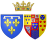 Coat of arms of Marie Amélie, Princess of Naples and Sicily as Duchess of Orléans, princess of the blood.png