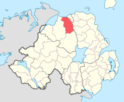 Location of Coleraine, County Londonderry, Northern Ireland.