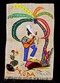 Collectie Nationaal Museum van Wereldculturen TM-3325-36 Raffia wandversiering met een afbeelding van een gitarist onder een palm, o.a. vervaardigd met cactusnaald Aruba.jpg