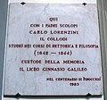 Collegio degli scolopi, targa carlo lorenzini, 1983.JPG