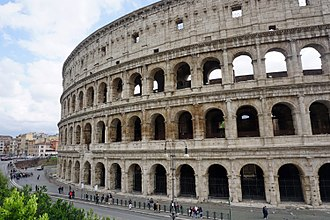 The Colosseum is still today the largest amphitheater in the world. It was used for gladiator shows and other public events (hunting shows, recreations of famous battles and dramas based on classical mythology). Colosseo Romano Rome 04 2016 6289.jpg