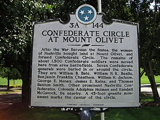 Mount Olivet Cemetery (Nashville) - Sign of Confederate Circle.