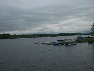 Conneaut Lake - Centre of the lake on a cloudy day.