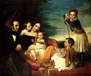 Alexander Constantine Ionides - Alexander Constantine Ionides and his wife and children, by George Frederic Watts, 1841 (Watts Gallery)