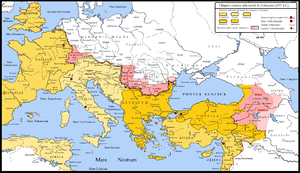 Romans in Persia - Map showing the Roman conquests in western Persia up to lake Urmia, in the first decades of the 4th century (light pink).